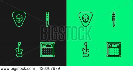 Set Line Guitar Amplifier, Electric Bass Guitar, Pick And Flute Icon. Vector