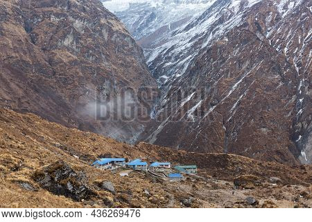 Machhapuchhre Base Camp Early In The Morning, Annapurna Conservation Area, Himalaya, Nepal