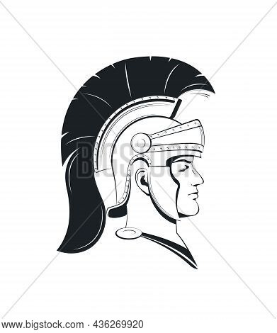 Roman Centurion. Portrait Of A Roman Soldier In A Helmet With Crest In Profile. Template For Logo. V