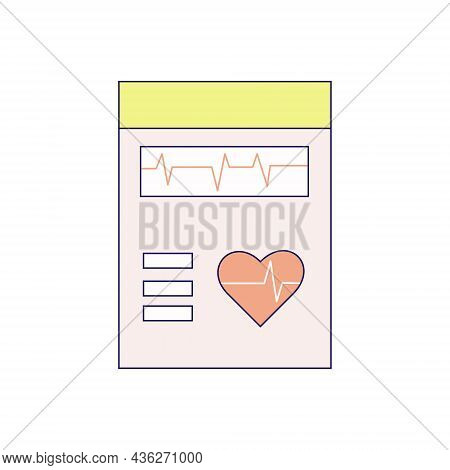Cardiogram Flat Vector Image. Annual Examination, Heart Disease, Medical Test. Can Be Used For Topic