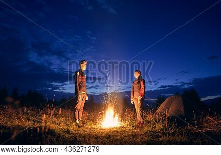 Horizontal Snapshot Of Couple Of Tourists Spending Time Together In Camping. Young Boy And Girl Near