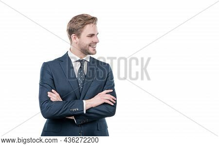 Confident Man Employee Happy Smile In Business Suit Keeping Arms Crossed, Confidence
