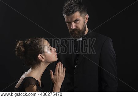 Religion Holy. Seductive Monk. Priest Sin. Church Pastor With Sexy Woman Nun.
