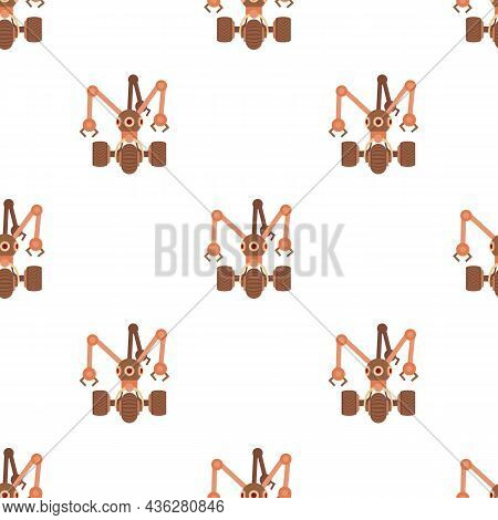 Robot With Three Tentacle Pattern Seamless Background Texture Repeat Wallpaper Geometric Vector