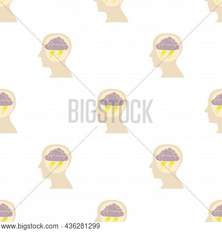 Head With Storm Pattern Seamless Background Texture Repeat Wallpaper Geometric Vector