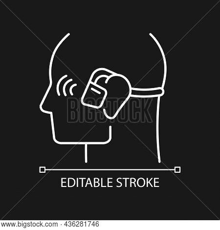 Open Ear Wireless Headphones White Linear Icon For Dark Theme. Bone Conduction Earphones. Thin Line