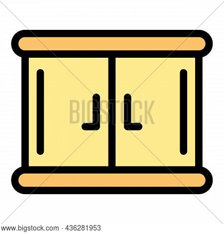 Wood Kitchen Cabinet Icon. Outline Wood Kitchen Cabinet Vector Icon Color Flat Isolated