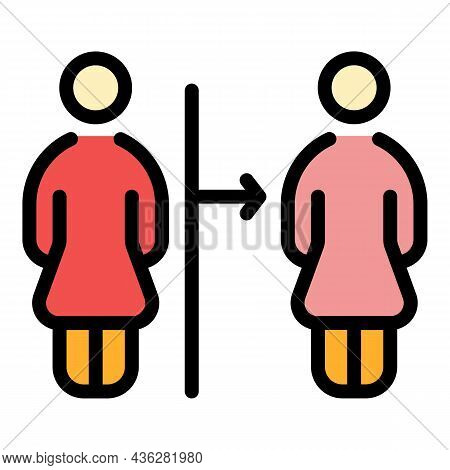 Social Distance Icon. Outline Social Distance Vector Icon Color Flat Isolated