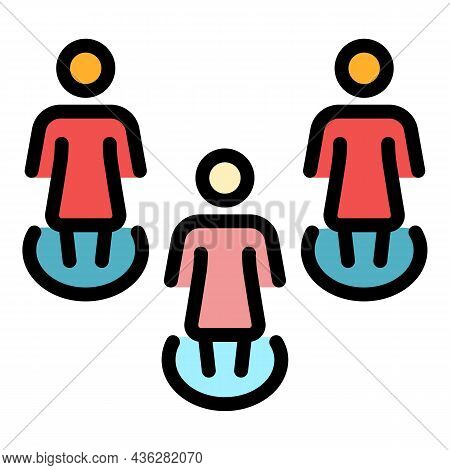 Social Distancing Icon. Outline Social Distancing Vector Icon Color Flat Isolated