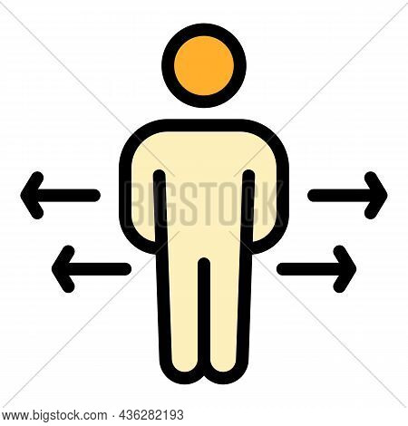 Physical Distance Icon. Outline Physical Distance Vector Icon Color Flat Isolated