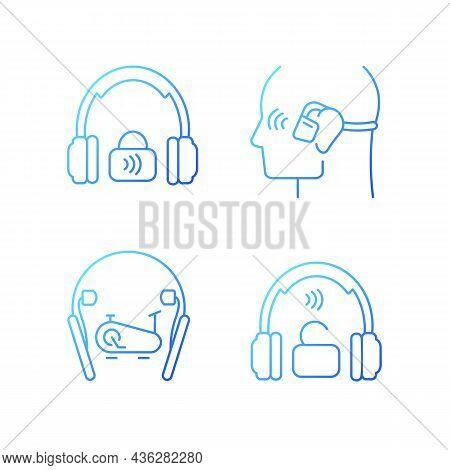 Wireless Headphones Gradient Linear Vector Icons Set. Professional On Ear Headset. In Ear Earphones.