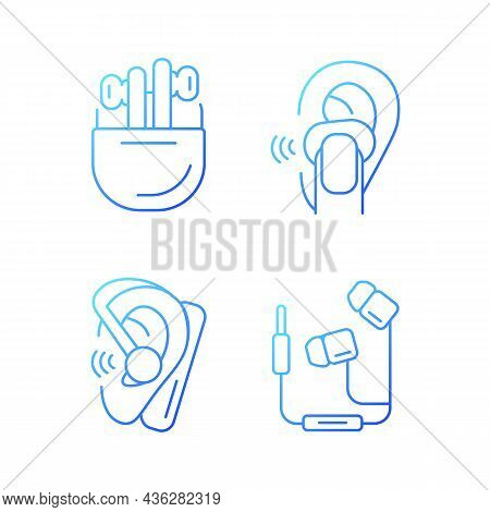 Compact In Ear Earphones Gradient Linear Vector Icons Set. Small Earpieces For Listening Music. Wire