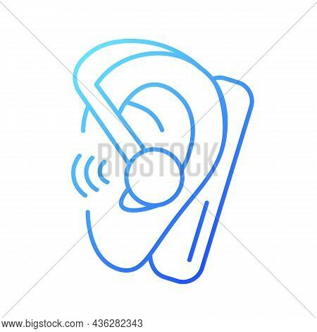 Handsfree Headset Gradient Linear Vector Icon. Wireless Earpiece For Business Conversations. Calling