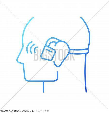 Open Ear Wireless Headphones Gradient Linear Vector Icon. Bone Conduction Earphones. Wireless Connec