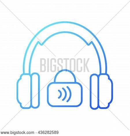 Closed Back Headphones Gradient Linear Vector Icon. Over Ear Headset For Music Making And Gaming. Fu