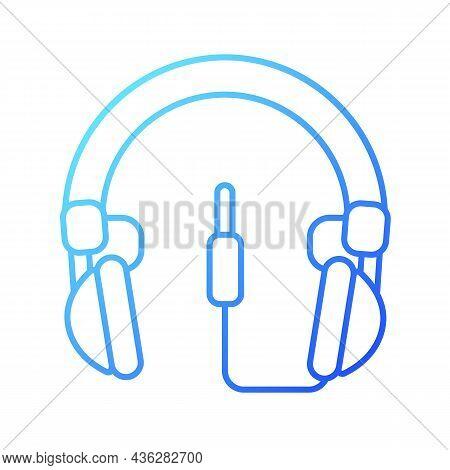 Wired Circumaural Headset Gradient Linear Vector Icon. Over Ear Headset For Gaming. Device Connected