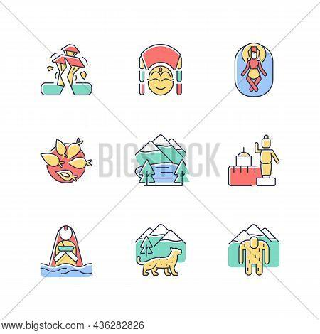 Culture Of Nepal Rgb Color Icons Set. Trekking Destination. Earthquake Risk. Religious Sites. Nepale