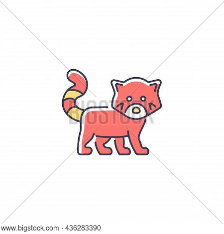 Red Panda Rgb Color Icon. Wildlife Protection In Nepal. Endangered Species. Lesser Panda With Reddis