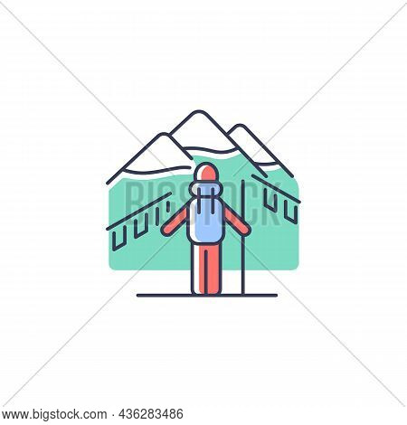 Trekking In Nepal Rgb Color Icon. Mountaineering Destination For Travelers. Hiking Through Himalayas