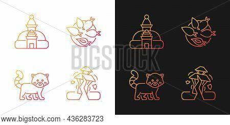 Tourism In Nepal Gradient Icons Set For Dark And Light Mode. Swayambhu Stupa. Nepalese Cuisine. Thin