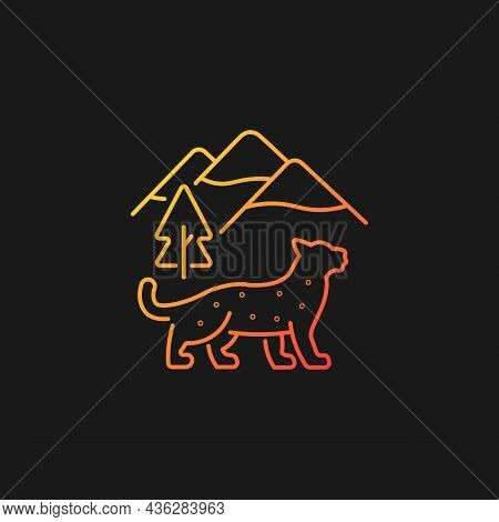 Snow Leopard Gradient Vector Icon For Dark Theme. Wild Animal Living In Nepal. Himalayan Predator. E