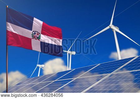 Dominican Republic Renewable Energy, Wind And Solar Energy Concept With Wind Turbines And Solar Pane