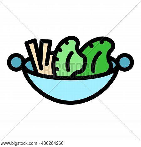 Wok Menu Cuisine Icon. Outline Wok Menu Cuisine Vector Icon Color Flat Isolated