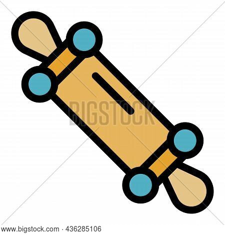 Wood Cook Roll Icon. Outline Wood Cook Roll Vector Icon Color Flat Isolated