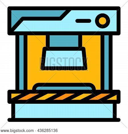 Press Form Machine Icon. Outline Press Form Machine Vector Icon Thin Line Color Flat On White