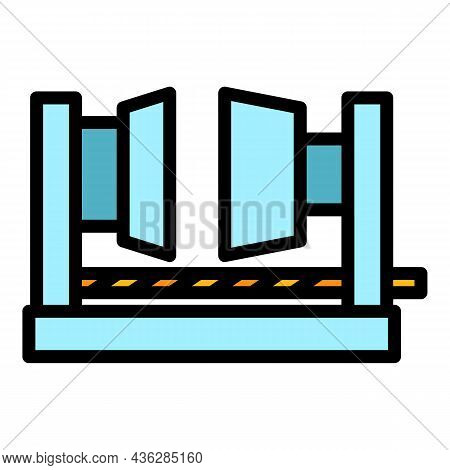 Factory Press Machine Icon. Outline Factory Press Machine Vector Icon Color Flat Isolated