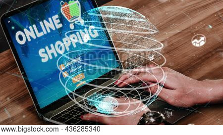 Online Shopping And Internet Money Payment Transaction Technology Conceptual . Modern Graphic Interf