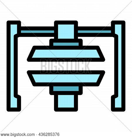 Hydraulic Press Machine Icon. Outline Hydraulic Press Machine Vector Icon Color Flat Isolated
