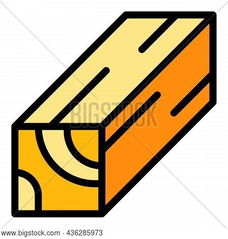 Plywood Plank Icon. Outline Plywood Plank Vector Icon Color Flat Isolated