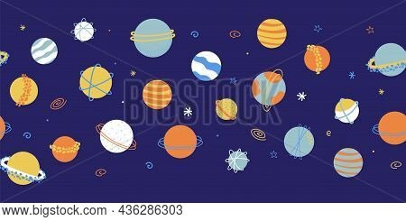 Planets Outer Space Seamless Vector Border. Galaxy Repeating Background. Cute Childish Planet Illust