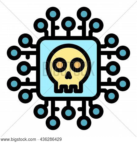Cyber Malware Icon. Outline Cyber Malware Vector Icon Color Flat Isolated