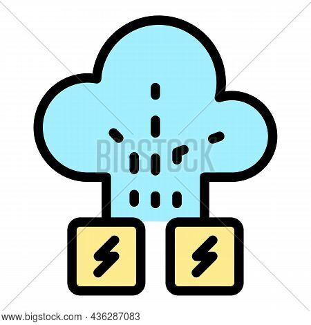 Cloud Memory Attack Icon. Outline Cloud Memory Attack Vector Icon Color Flat Isolated