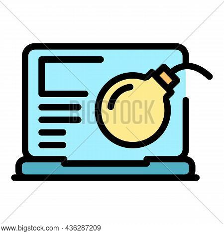 Bomb Laptop Icon. Outline Bomb Laptop Vector Icon Color Flat Isolated