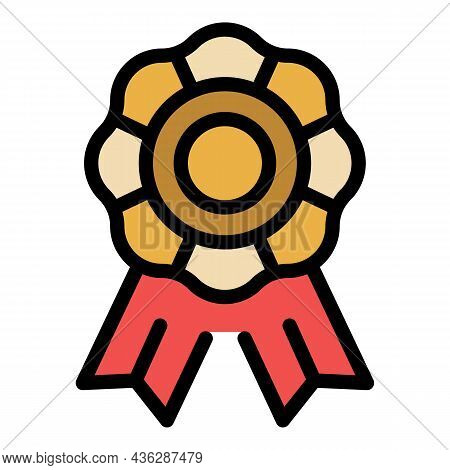 Award Ribbon Icon. Outline Award Ribbon Vector Icon Color Flat Isolated