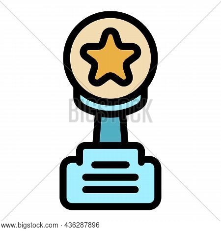 Competition Trophy Icon. Outline Competition Trophy Vector Icon Color Flat Isolated