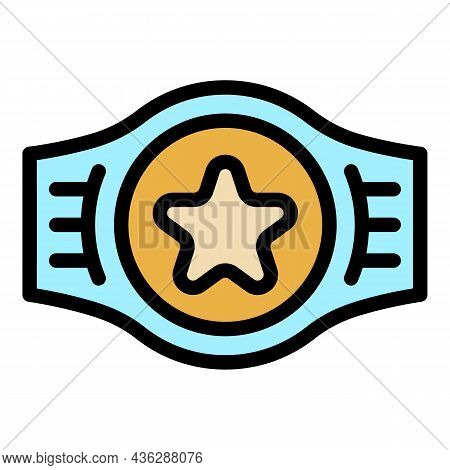 Award Belt Icon. Outline Award Belt Vector Icon Color Flat Isolated