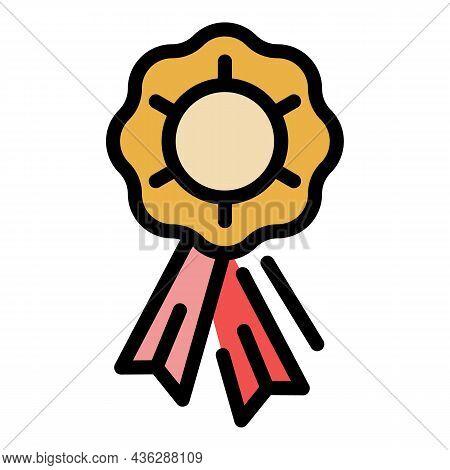 Ribbon Award Badge Icon. Outline Ribbon Award Badge Vector Icon Color Flat Isolated