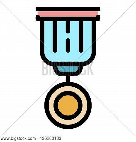 Reward Badge Icon. Outline Reward Badge Vector Icon Color Flat Isolated