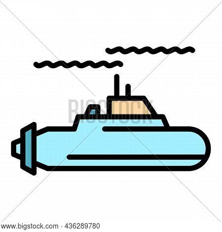 Ocean Submarine Icon. Outline Ocean Submarine Vector Icon Color Flat Isolated