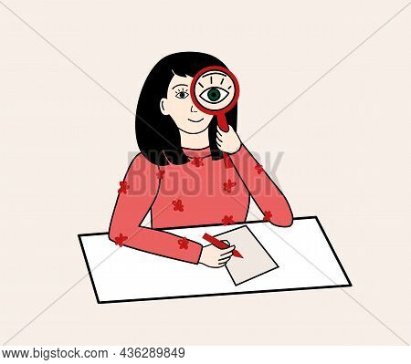 Simple Cute Dark Haired Girl With Red Sweater Looking Through The Magnifying Glass And Writing On Pa