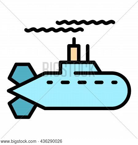 Fast Submarine Icon. Outline Fast Submarine Vector Icon Color Flat Isolated