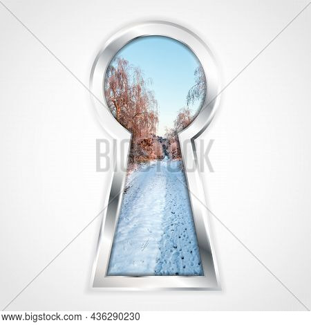 View Of Winter Landscape With With Snowy Path, Birches And Blue Sky In Abstract Silver Keyhole