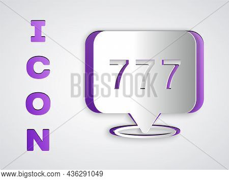 Paper Cut Slot Machine With Lucky Sevens Jackpot Icon Isolated On Grey Background. Paper Art Style.