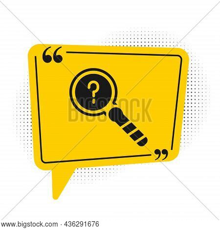 Black Unknown Search Icon Isolated On White Background. Magnifying Glass And Question Mark. Yellow S