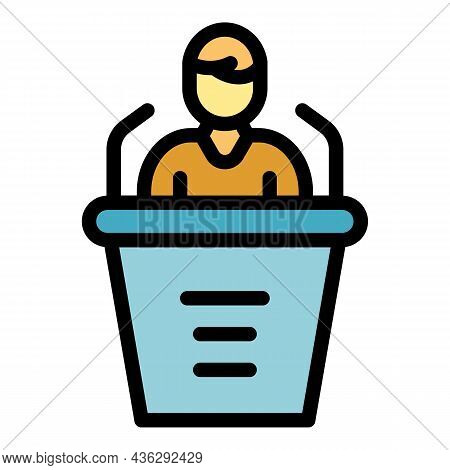 Campaign Speaker Icon. Outline Campaign Speaker Vector Icon Color Flat Isolated