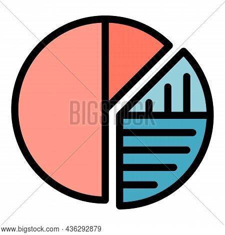 Campaign Chart Pie Icon. Outline Campaign Chart Pie Vector Icon Color Flat Isolated